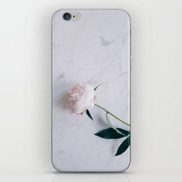 Blush Pink Peony on Marble Surface iPhone Skin