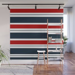 Red, White, and Blue Horizontal Striped Wall Mural