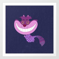 cheshire cat Art Prints featuring Cheshire by Rod Perich