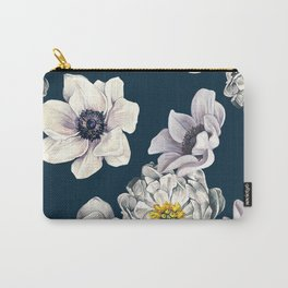White Flower Rain Carry-All Pouch