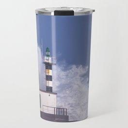 Stormy wave over lighthouse of San Esteban de Pravia. Travel Mug