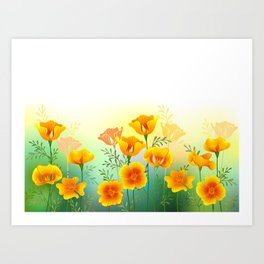 Background with California Poppy Art Print