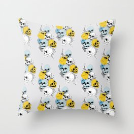 Modern, Blue, Yellow and White Skull Design Throw Pillow