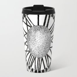 Time and Space Zoomed in Black, Grey, and White Mandala Travel Mug