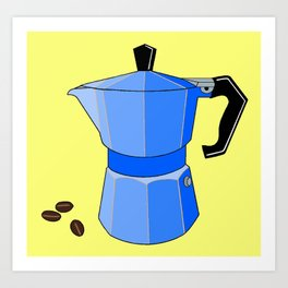 Blue Rainbow Espresso Pot Art Print