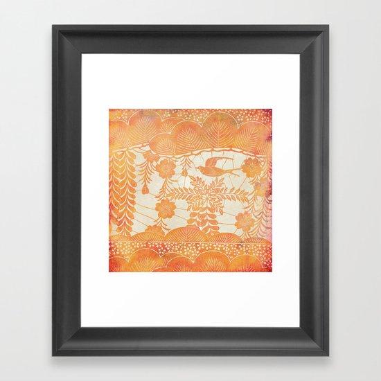 Flying Bird in Orange Framed Art Print