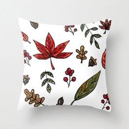 Fall Leaves Seasonal Pattern Throw Pillow