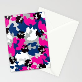 Pink and blue camouflage Stationery Cards
