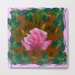 LEAFY PINK ROSE GARDEN & COFFEE BROWN ART Metal Print
