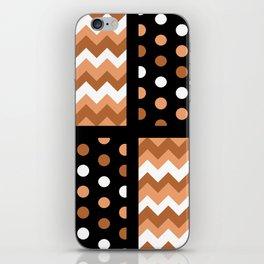 Black/Two-Tone Burnt Orange/White Chevron/Polkadot iPhone Skin