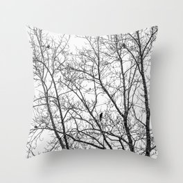 Birds in Bare Trees Throw Pillow
