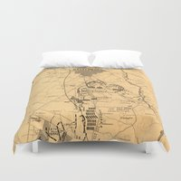 battlefield Duvet Covers featuring Vintage Map of The Gettysburg Battlefield (1863) 2 by BravuraMedia