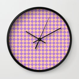 Deep Peach Orange and Lavender Violet Diamonds Wall Clock