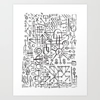 writing Art Prints featuring ALIEN WRITING by Matthew Taylor Wilson