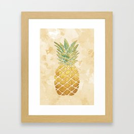 Golden Watercolor Pineapple Framed Art Print