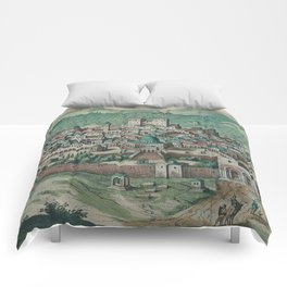 Vintage Map of Jerusalem, Nazareth and Rame Israel Comforters
