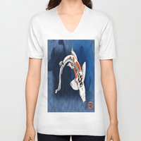 koi fish V-neck T-shirts featuring Koi Fish by Nerd Artist DM