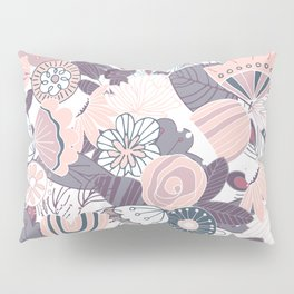 Whimsical Pastel Pink and Purple Floral Pillow Sham