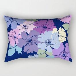 Blue Poppy Toss Rectangular Pillow