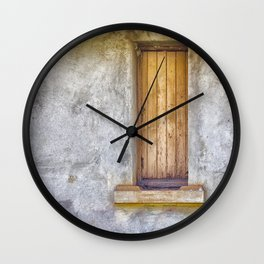 Old shuttered window Wall Clock