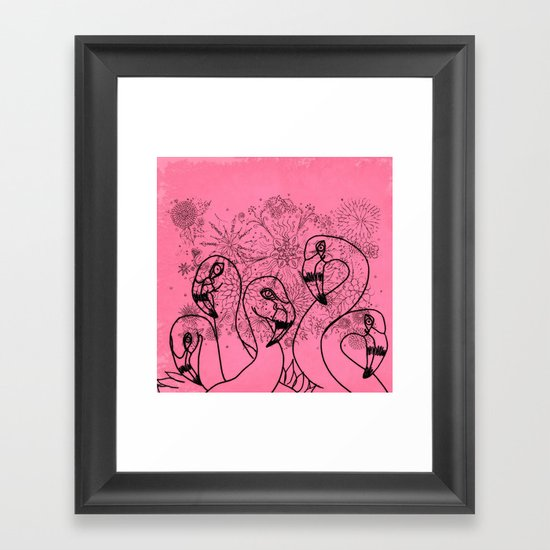 Pink Flamingos Framed Art Print
