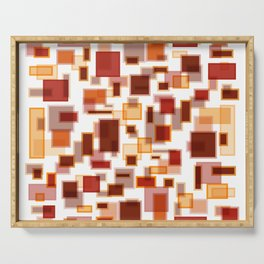 Red Abstract Rectangles Serving Tray