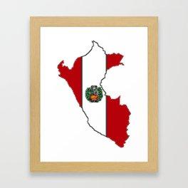 Peru map with Peruvian Flag Framed Art Print