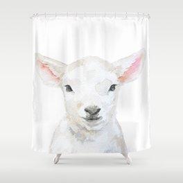 Lamb Face Watercolor Shower Curtain
