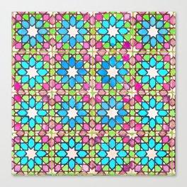 Portuguese tiles watercolor pattern Canvas Print