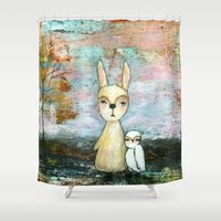 best friend Shower Curtains featuring My Best Friend, Abstract Landscape Art Painting Rabbit Owl Grunge by Itaya Art