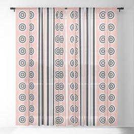 Geometric Vertical Stripes & Circles - Peach Pink, Gray Black White Sheer Curtain