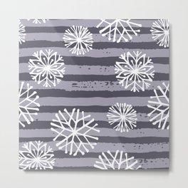 Winter violet lilac white  snow flakes stripes Metal Print