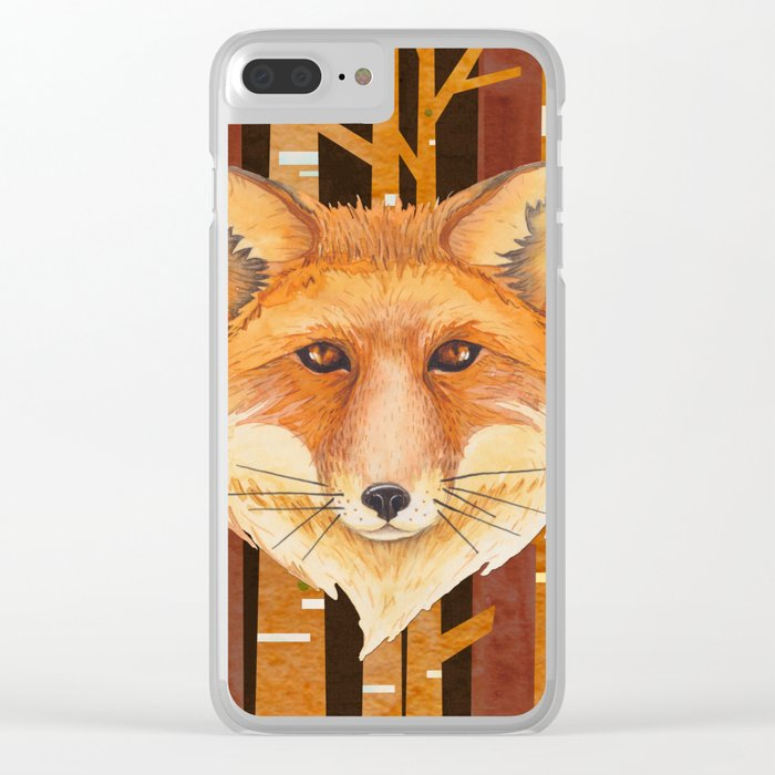 Fox Wild animal in the forest- abstract artwork Clear iPhone Case