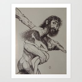 Caveman Carries Woman Art Print