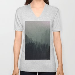 Mt Shasta Forest in Shades of Green Unisex V-Neck
