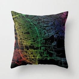 Chula Vista, CA, USA, City, Map, Rainbow, Map, Art, Print Throw Pillow