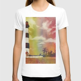 Fine art watercolor painting of Bodie Island lighthouse at sunset in the Outer Banks (OBX) of North T-shirt