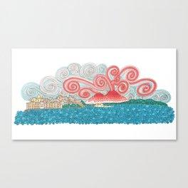 vesuvio in the clouds Canvas Print