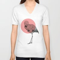 flamingo V-neck T-shirts featuring flamingo by morgan kendall