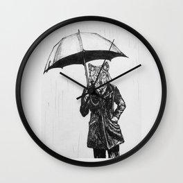 Wolf with Umbrella Wall Clock