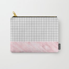 Modern Pink Granite on Grid Carry-All Pouch