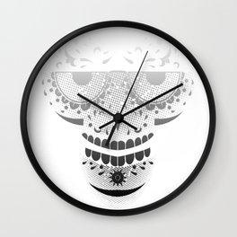 Sugar Skull - Day of the dead bw Wall Clock
