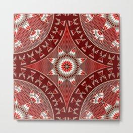 Native American Star Pattern Red Metal Print