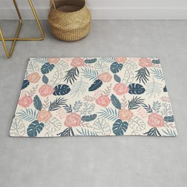 Blue and Blush Tropical Floral Pattern Rug