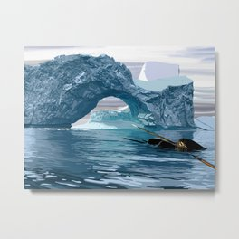 Narwhales ans icebergs Metal Print