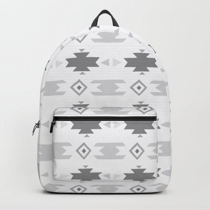 Southwestern Pattern Gray Cream Backpack