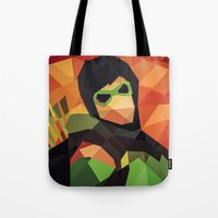 dc comics Tote Bags featuring DC Comics Green Arrow by Eric Dufresne