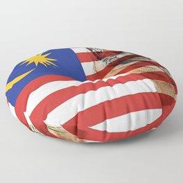 Malaysian Flag and Malayan Tiger Floor Pillow
