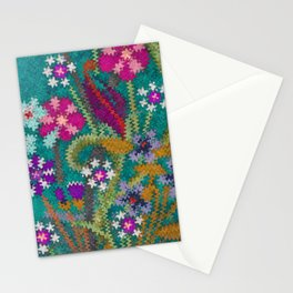 Starry Floral Felted Wool, Turquoise and Pink Stationery Cards