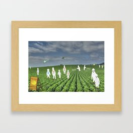 Green Rows Framed Art Print